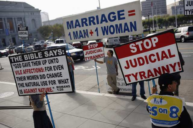File photo of supporters of Proposition 8 ban on gay marriage protesting outside the California Supreme Court in San Francisco