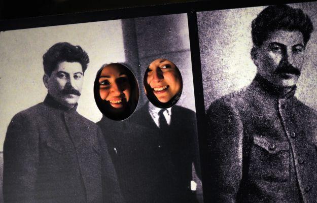 Bulgarian women pose in a cutout photo w