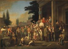 10. Elezioni: comunità maschile in festa, 1852. George Caleb Bingham, The County Election (1851–52). St. Louis Art Museum, St. Louis, Missouri.