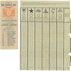 32. Scheda di partito o party ticket, 1864 (a sinistra) e scheda di stato o Australian ballot, 1896 (a destra). National Museum of American History, Smithsonian Institution, Washington, D.C.