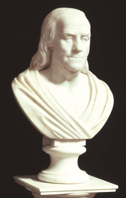 04. Civis romanus. Bust of Benjamin Franklin portrayed in a toga (circa 1817). The American Antiquarian Society, Worcester, Massachusetts.