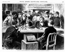 27. Contare i voti, 1876. Counting the Vote at Elephant Johnnie's, a New Orleans Bar and Polling Place, in «Frank Leslie's Illustrated Newspaper» (December 2, 1876). National Museum of American History, Smithsonian Institution, Washington, D.C.
