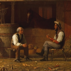 22. Corpi repubblicani ideali (che assomigliano a George Washington e Abraham Lincoln), 1872. Enoch Wood Perry, Talking it Over (1872). The Metropolitan Museum of Art, New York City.