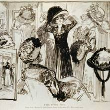 38. Quando votano le donne: se il seggio è in una modisteria invece che nel solito saloon, 1909. When Women Vote. What Will Happen if the Polling Place is Located in a Millinery Shop, in «Puck» (April 28, 1909). Library of Congress Prints and Photographs Division, Washington, D.C.