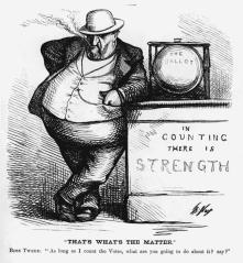 28. Chi conta davvero i voti? Il corpo del boss, 1871. Thomas Nast, Boss Tweed: In Counting there is Strength, in «Harper's Weekly» (October 7, 1871). Library of Congress Prints and Photographs Division, Washington, D.C.