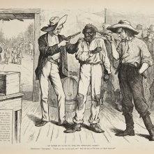 24. Corpi di colore: l'ultimo voto nel Sud verso la segregazione, 1876. Of course he wants to vote the Democratic ticket, in «Harper's Weekly» (October 21, 1876). Tennessee State Library and Archives.