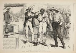 24. Corpi di colore: l'ultimo voto nel Sud verso la segregazione, 1876. Of course he wants to vote the Democratic ticket, in «Harper's Weekly» (October 21, 1876). Tennessee State Library and Archives.