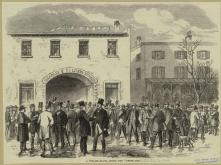 31. Corpi di classe, ordinati: Election Day nei quartieri alti, New York City ,1864. Election Day in New York, A Polling-Place among the Upper Ten, in «The Illustrated London News» (December 3, 1864). New York Public Library Picture Collection, New York City.