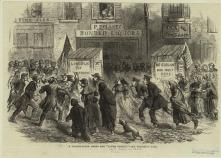 30. Corpi di classe, disordinati: Election Day nei quartieri popolari, New York City, 1864. Election Day in New York, A Polling-Place among the Lower Twenty, in «The Illustrated London News» (December 3, 1864). New York Public Library Picture Collection, New York City.