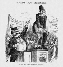 26. Corpi corrotti: elettori in vendita, 1884. Bernhard Gillam, Ready for Business, «Puck» (July 23, l1884).
