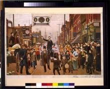 18. Corpi in marcia: parata Democratica, Chicago, 1892. Julius Kessler, The Lost Bet (1893). Parade with banner showing head portraits of Grover Cleveland, Adlai E. Stevenson, and John Peter Altgeld. Library of Congress Prints and Photographs Division, Washington, D.C.