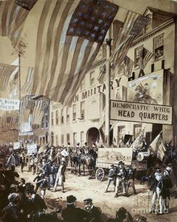 14. I partiti e la politica di massa: corpi in marcia, processione laica, 1840. Whig procession, William Henry Harrison presidential campaign (1840).