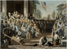 12. Risultati elettorali: il verdetto del popolo, 1855. George Caleb Bingham, The Verdict of the People (1854-55). St. Louis Art Museum, St. Louis, Missouri.