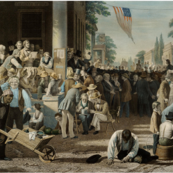 12. Risultati elettorali: il verdetto del popolo, 1855. George Caleb Bingham, The Verdict of the People (1854-55). St. Louis Art Museum, St. Louis, Missouri.