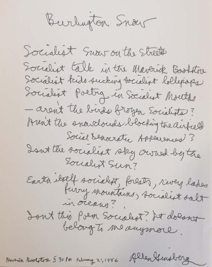 Allen Ginsberg's hand-written poem, Special Collections, University of Vermont Libraries