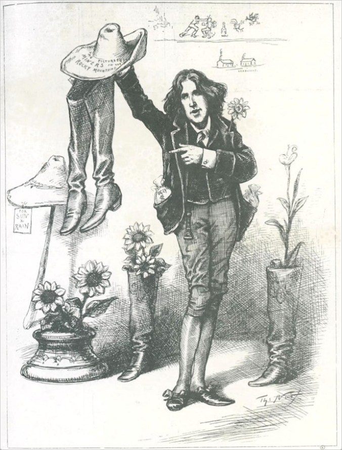 Oscar Wilde nel West, cartoon di Thomas Nast, Harper's Bazar, June 10, 1882