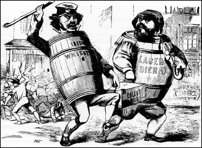 Gli immigrati irlandesi e tedeschi rubano le elezioni, circa 1850.