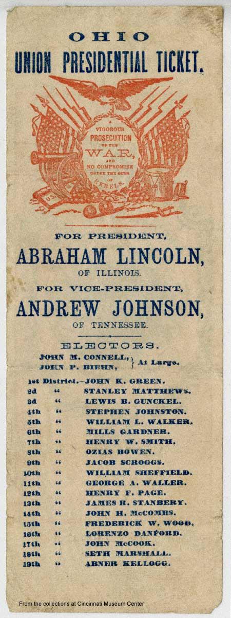 1864, Partito unionista. Lincoln è in guerra, con una nuova etichetta di partito.