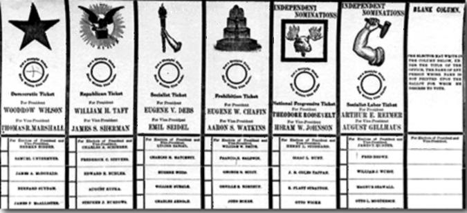 1912. C'è un terzo incomodo, Theodore Roosevelt, e anche un quarto, il socialista Eugene Debs.