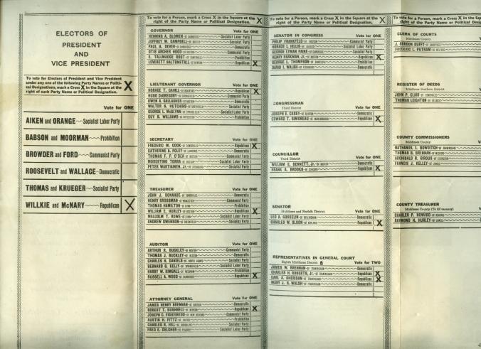 1840, Stato del Massachusets. Un voto per i repubblicani, in lista c'è anche il segretario del partito comunista, Earl Browder.