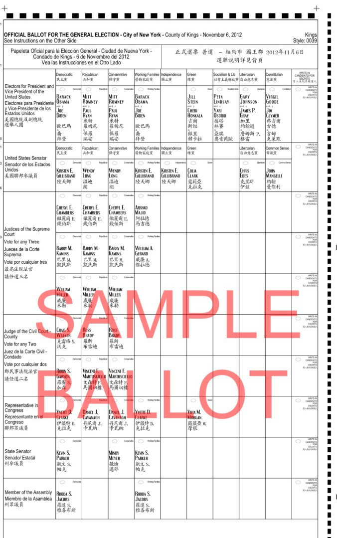2012. County of King [Brooklyn], City of New York. Scheda di stato con tutte le cariche per cui votare, con candidati di tutte le risme. Lenzuola metropolitana in inglese, spagnolo, cinese. Non è sempre stato così.