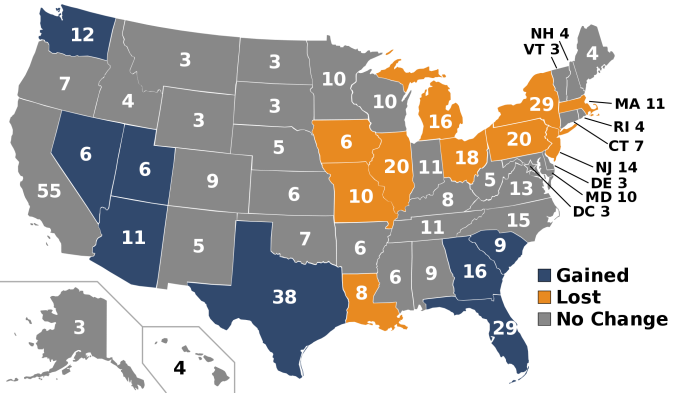 I voti elettorali degli stati nel 2016. Chi guadagna e chi perde dopo il censimento del 2010, in base agli spostamenti di popolazione.