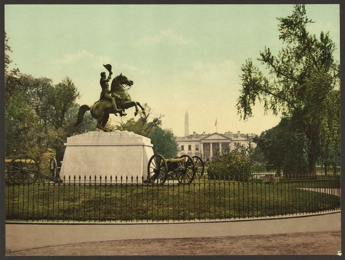 Washington._Jackson_Monument_and_White_House-LCCN2008678237